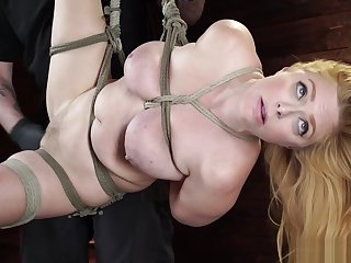 Natural busty menial is toyed on hogtie