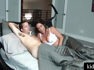 Honcho woman round white stockings got a good fuck from her step- son, until she came