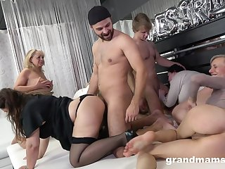 Really wild orgy with dirty in the mood for mud mature whores thirsty for orgasm