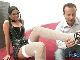 Mr Big nerdy bitch jams big boobs as her soaked pussy is destroyed