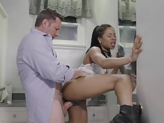 Ebony teen Kira Noir gives an older waxen guy some brown sugar