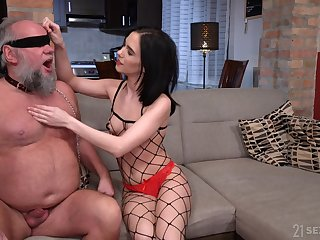 Grey bearded old fuck becomes a young woman's toy and she loves in the air fuck