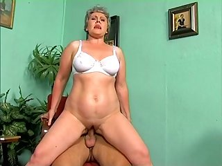 Deserted grey haired bitchie mature slut rides fat cock on top