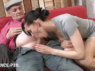 Steamy Dark Haired Lady Fucks Old Man