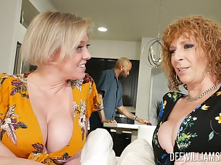 Older horny broads Dee Williams and Sara Jay selectively share a shaft