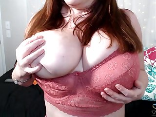 Big grown-up flashes the huge interior while measures to masturbate