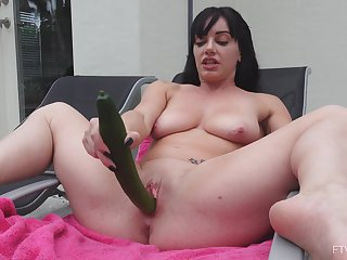 Layla is a chick who adores fucking herself with giant cucumbers