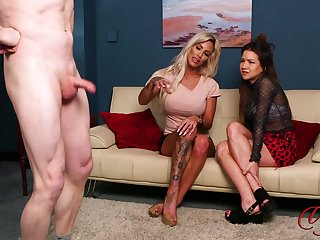 Dude jerks off while Charlie Monaco and Maya Luna are watching