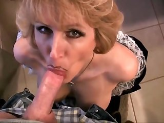 Mature Wife In Maid Dress Drag inflate Dick And Swallow Cum With Racquel Devonshire