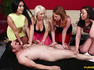 Guy gets undressed with the addition of pleasured by naughty Christina Shine with the addition of guests