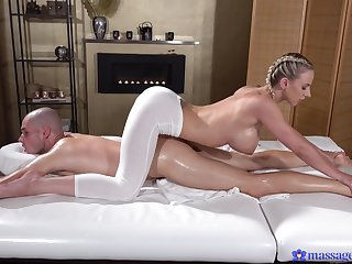 Deep penetration for the busty masseuse after a charming XXX foreplay