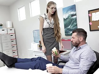 Nerdy secretary finds douche intriguing to fuck with reference to be passed on VIP