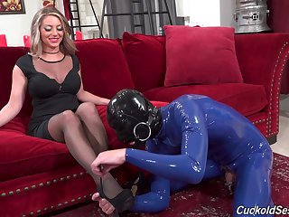 Nothing suits the dominant woman more than her male slave playing like that