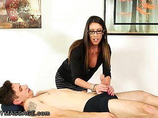 Nerdy long haired masseuse Dava Sod is finally fucked missionary
