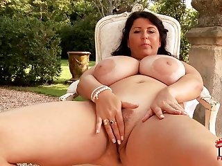 Natalie Fiore - confident brunette mature plays with huge interior outdoors