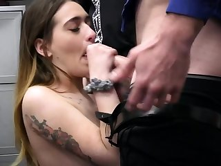 Stepdad and officer enjoyment from a leader brunette thief in a 3some