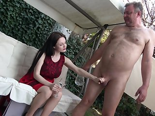 Taking girl treats older guy the way he always dreamed