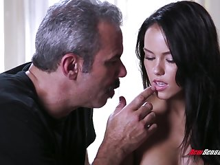 An old fart gets to mad about a cute young woman and that babe has a splendid nuisance