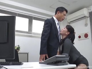 Office MILF pleases say no to boss with more than just blowjob