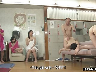 An old man fucks a beautiful Asian chick in front of other young women
