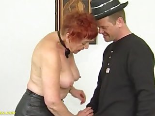 Horny redhead german 78 years old grandma enjoys her prime rough and deep fisting lesson