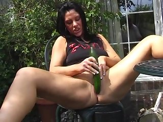 Shaved pussy mature floosie Crystel Lei loves having recreation in the air a cucumber