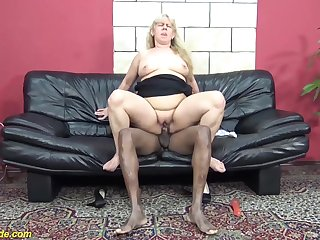 Shaved  pussy 72 years old ugly grandma enjoys her first big black cock interracial porn