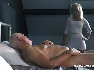 Svelte taking young beauty Daisy Dawkins provides doyen pervert with a BJ