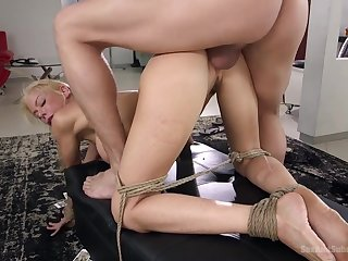 Smoking hot policewoman Alexis Fawx is tied up and fucked by team a few perverse guy