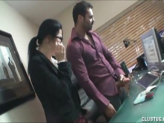 Two office ladies in stockings pleasuring four cock with a handjob