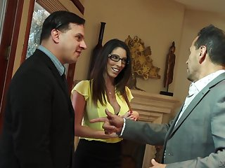 Lustful busty wife Dava Foxx seduces husband's boss for promotion