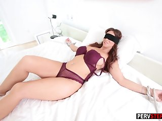 Promised blindfolded MILF sucked a bad stepsons cock